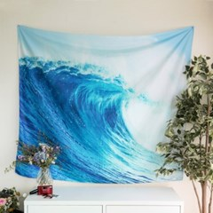 태피스트리 벽장식 패브릭 포스터 - 블루 웨이브 (150x130cm)