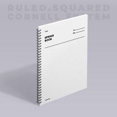 [모트모트] 스프링북 - 화이트 (룰드/스퀘어드/코넬시스템) 1EA