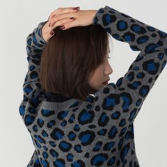 leopard semi crop cardigan