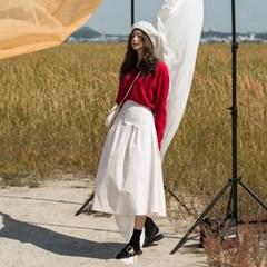 banding cotton flare long skirt