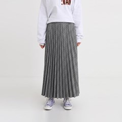 dark check pleats skirt