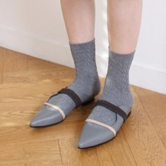 Wave banding low mule Blue gray_1cm (소가죽)