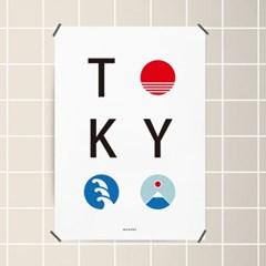 유니크 일본 인테리어 디자인 포스터 M 도쿄 타이포그래피