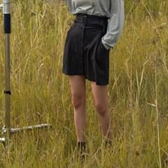 banding stripe pattern mini skirt