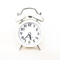 베이직 저소음 화이트 자명종 시계