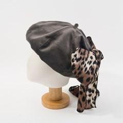레오파드 투웨이 리본 베레모 모자