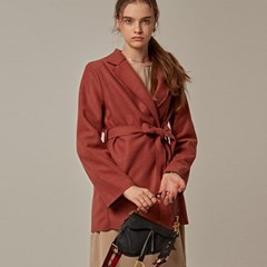 WRAP STRAP STAND COAT_PINK