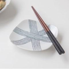 니코트 그레이 사각접시 JAPAN