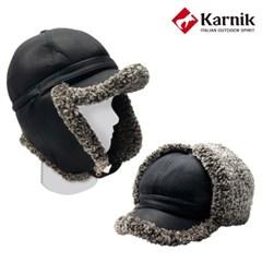 카르닉 가죽 양털 귀달이 캡 모자