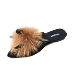 kami et muse Feather point fur slippers_KM18w115