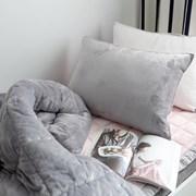 [바이아미] 무지투톤 극세사 차렵이불세트 (핑크그레이) - 퀸사이즈
