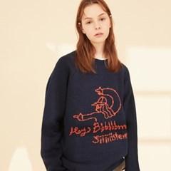 KN041_Hey Sister Raglan Sweater_Navy