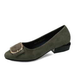 kami et muse Gold belted suede low heel pumps_KM18w152