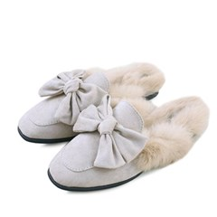kami et muse Over ribbon suede fur slippers_KM18w164