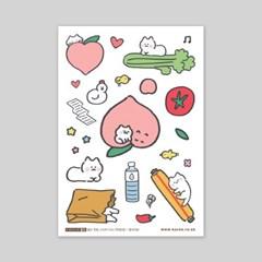 셀프컷팅스티커-032 복숭냥 (봉지)