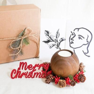 크리스마스 싱글 캔들 홀더 세트(선물포장)