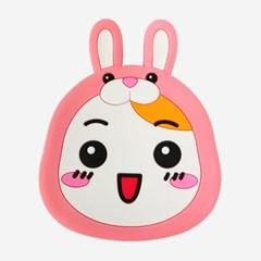 에비츄 실리콘 손거울_핑크래빗
