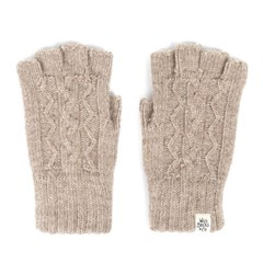 CABLE FINGERLESS GLOVES (beige)