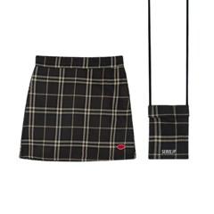 SEANLIP Check skirt bag set / 체크 스커트 백 브라운