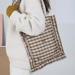 PFS PADDING SHOULDER BAG - BEIGE CHECK_(759153)