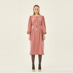 Puff Pintuck Dress in Pink