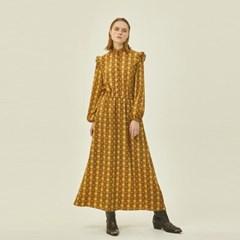 Victoria Frill Dress in Brown