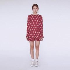 [더센토르] Daisy Back Ruffle Dress [WINE]