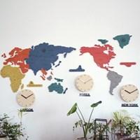 실크로드 칼라 세계지도 벽시계 (소)