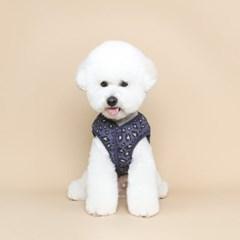강아지 레오파드 패딩 베스트 - 네이비