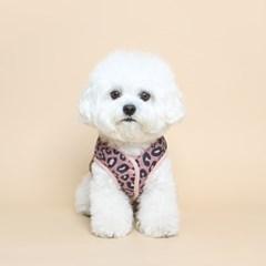 강아지 레오파드 패딩 베스트 - 핑크