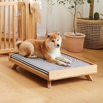 해빗 원목 펫 베드 강아지 고양이 침대 쿠션방석
