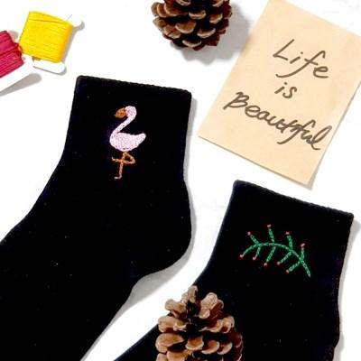 플라밍고 트로피칼 여자 발목 패션 양말 프랑스자수 패키지 도안 DIY