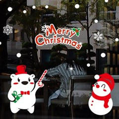 크리스마스시트지_곰돌이 신사와 눈사람_(860950)