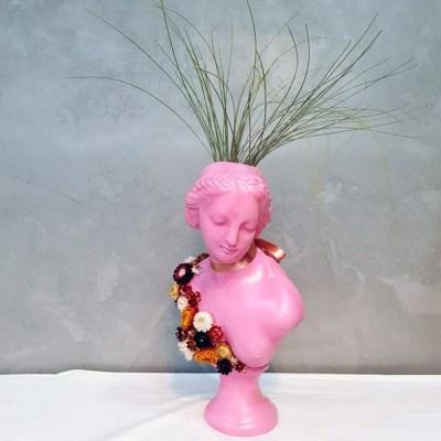 플라워 아트 중형 비너스여인 석고상화분 38cm+리본2
