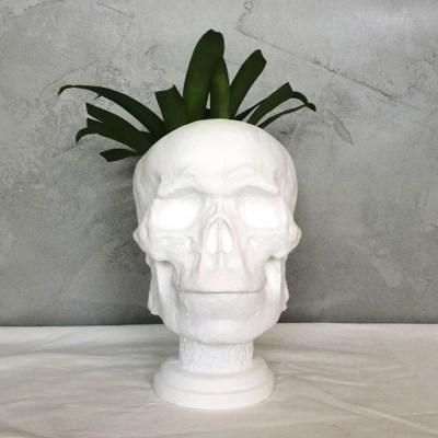해골 중형 석고상 화분 35cm 내외+리본2개 포함