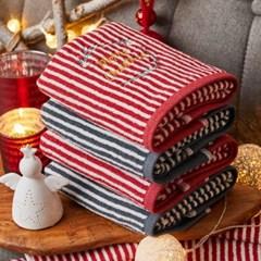 크리스마스 선염타올 4매(혼합)+쇼핑백포함
