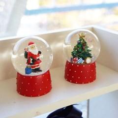 크리스마스 산타트리 워터 스노우볼 2p