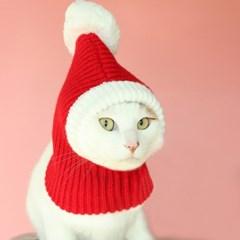 강아지 고양이 크리스마스 산타 모자 워머