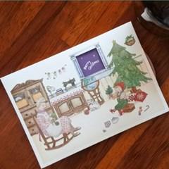 겨울 크리스마스 카드 - 산타를 기다리는 밤