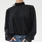 Dressy velvet stripe blouse
