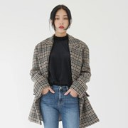 Two tone checked coat