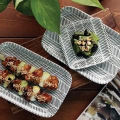 일본식기 헤링본 사각접시_(1058279)