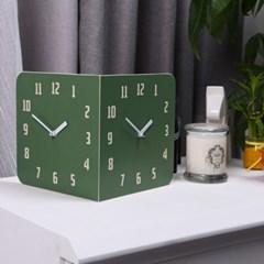 모던레트로 라운드 코너 양면시계 - 포레스트 그린