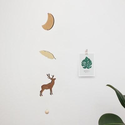 위크앤드 인테리어 우드 사슴 모빌_deer