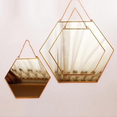 골드 프레임 육각 거울