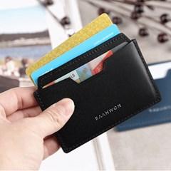 (이니셜각인)천연소가죽 슬림미니2포켓 카드지갑