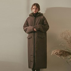 OVERFIT LONG PADDING COAT_KHAKI