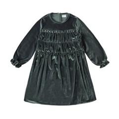 [리틀비티] 벨벳 프릴 롱 드레스 (올리브 그린)_(931582)