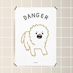 유니크 인테리어 디자인 포스터 M 심쿵 위험한 강아지