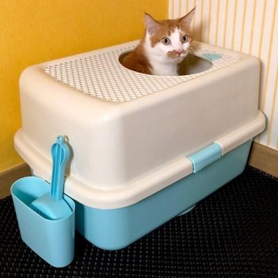 묘심 블랙홀 오픈탑 후드형 고양이대형화장실+큰모래삽&거치대